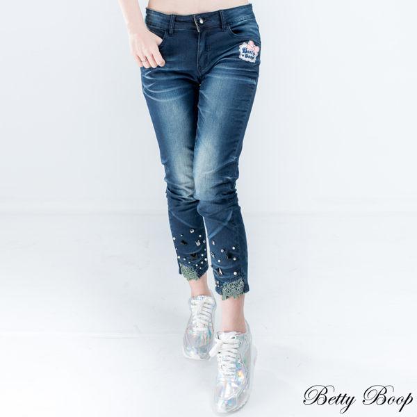 Betty Boop 布蕾絲珠鑽褲管彈性八分牛仔褲 - 限時優惠好康折扣