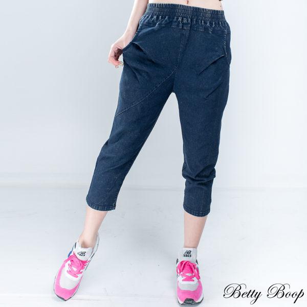 Betty Boop 刷白後造型口袋彈性七分牛仔褲 - 限時優惠好康折扣