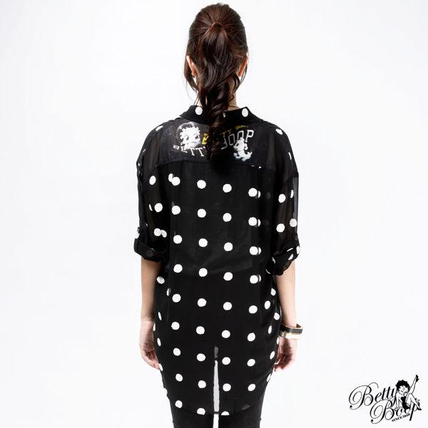 襯衫 Betty Boop 繡圓點反折袖雪紡襯衫 2