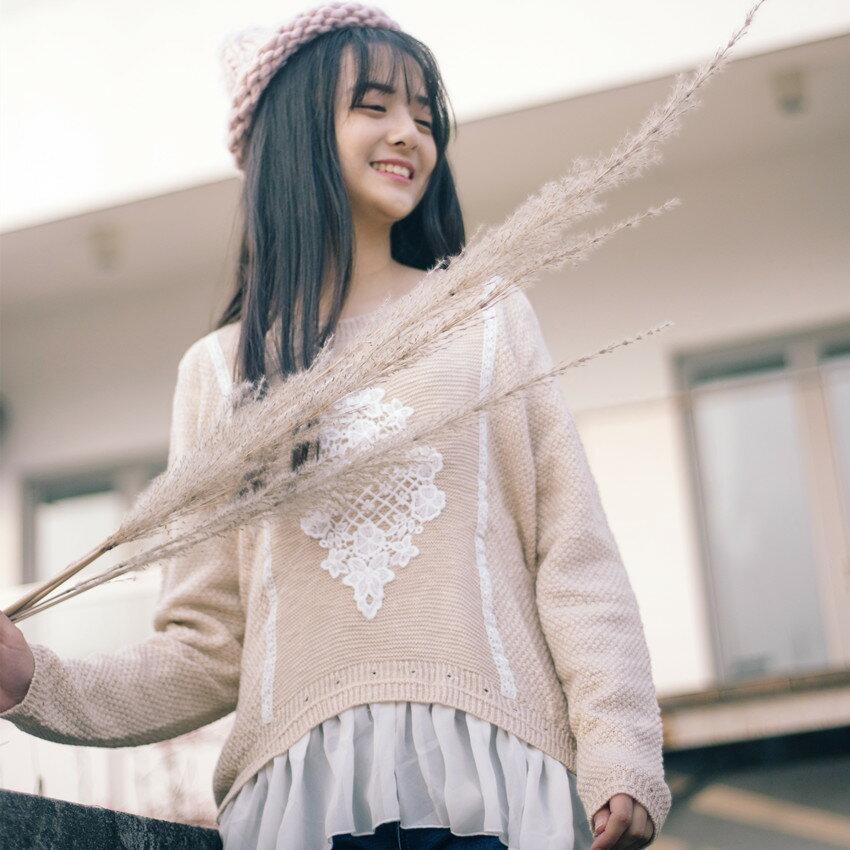 中大 ^~花^~ 森碎花刺繡拼接假件下擺蕾絲精梳棉針織上衣 ~ 御聖願~全店單件,單筆滿5