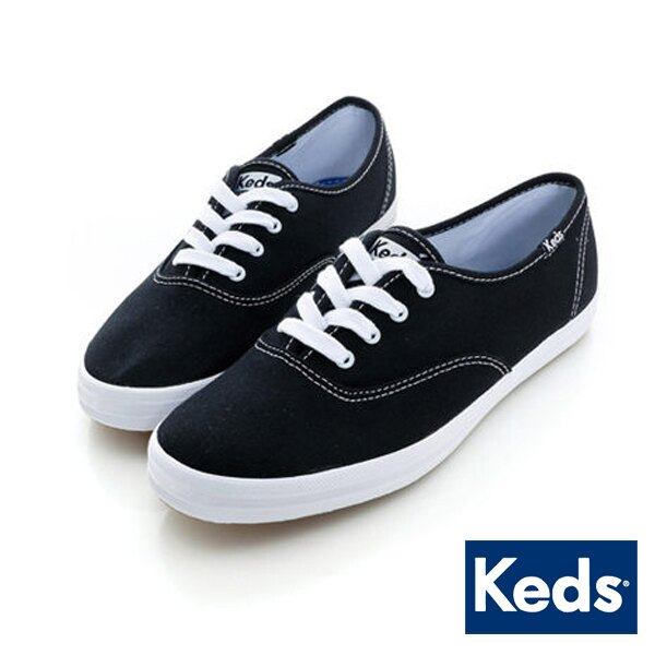 【KEDS 促銷85折│全店免運】KEDS 經典帆布鞋/ 黑 綁帶│懶人鞋│平底