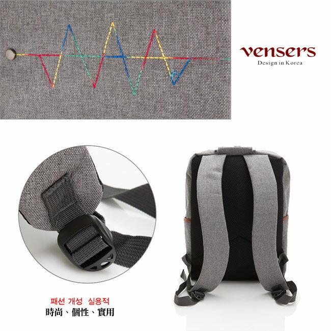 【vensers】簡約丹寧牛仔後背包(R00066302淺灰) 4