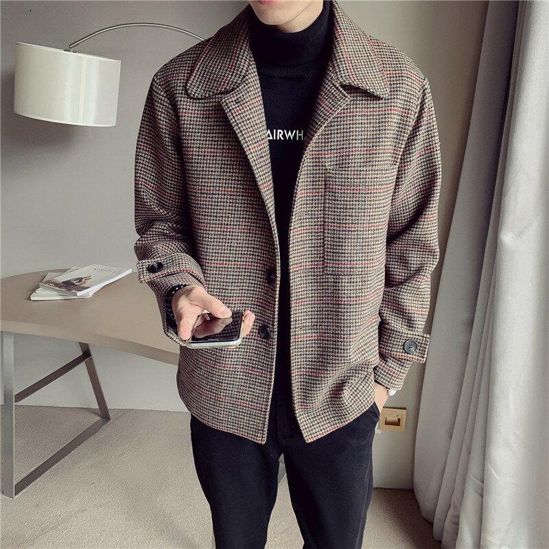 冬季男士風衣潮流新款港風寬鬆短款呢子大衣青年帥氣千鳥格男外套