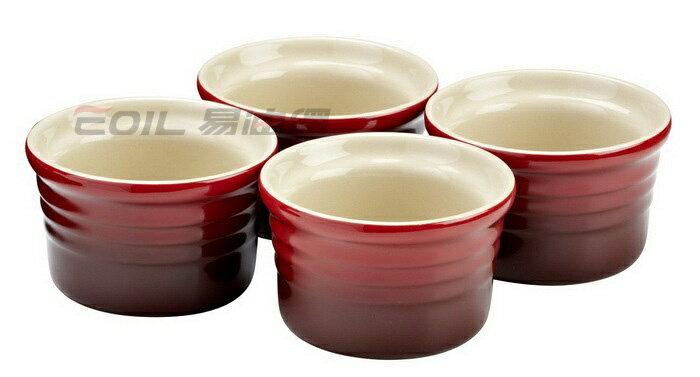 Le Creuset 圓形小烤盅/布丁杯 8cm (4入組) 櫻桃紅/火焰橘