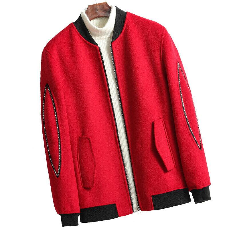 毛呢大衣短款夾克-立領休閒舒適秋冬男外套4色73wk24【獨家進口】【米蘭精品】 1