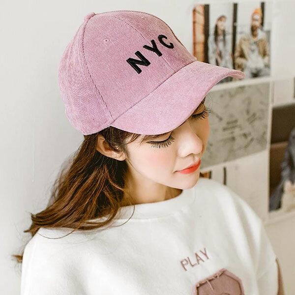 NYC 燈芯絨 鴨舌帽 棒球帽 刺繡 立體 絨布 毛帽 英文字母 男女 情侶帽  百搭 螺