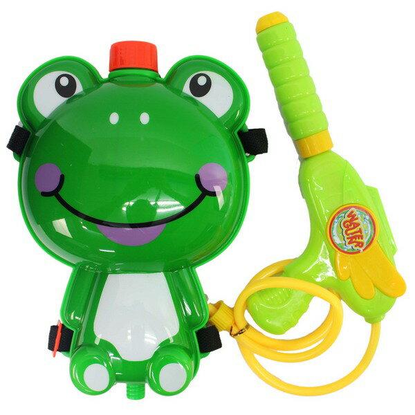 青蛙背包水槍加壓式強力水槍槍長27cm一個入{促199}後背式水槍可背式動物造型~生043-21(K2550)