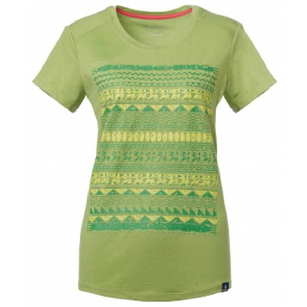 《台南悠活運動家》WILDLAND61607女彈性棉感抗UV印花上衣淺綠