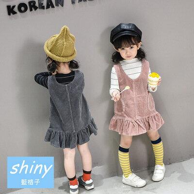 【R0186】shiny藍格子-嬰幼館.春秋新款女童燈芯絨背心裙