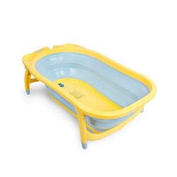 Karibu Tubby 摺疊式澡盆【藍底黃邊】【紫貝殼】