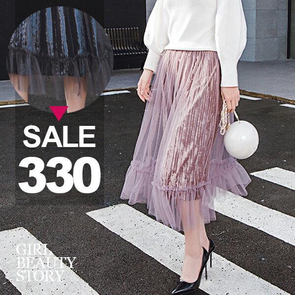 SISI【P7045】 百搭高腰鬆緊腰網紗拼接燈芯絨中長款風琴百褶半身裙中長裙
