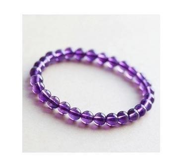 紫水晶小巧款手鏈 媚紫冰透 紫羅蘭色 6MM