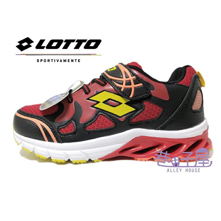 義大利第一品牌-LOTTO 童款飛馳彈力碟型避震運動慢跑鞋 [3620] 黑紅【巷子屋】