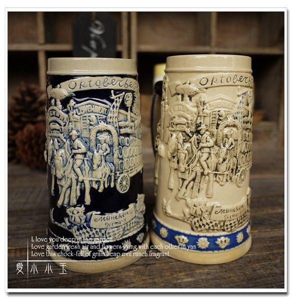 【慕尼黑拉酒車】陶瓷德國啤酒杯創意2個組