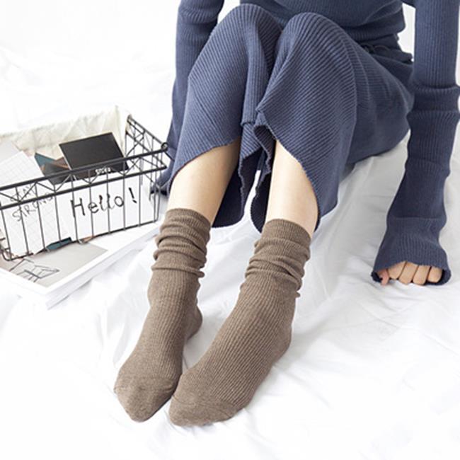 50%OFF【W018376SK】HENNY RUE 日系女襪子批發 純棉 素色 細抽條翻邊復古堆堆襪 棉襪 - 限時優惠好康折扣