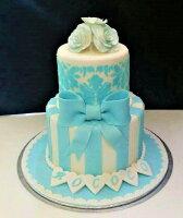 分享幸福的婚禮小物推薦喜糖_餅乾_伴手禮_糕點推薦6+8吋湛藍禮讚雙層造型蛋糕 婚禮 生日 紀念