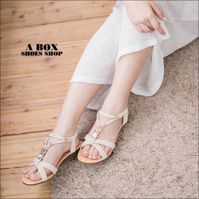 格子舖*【ANW1512】素面質感絨布金屬綴飾 3.5CM仿木紋楔型繞踝交叉涼鞋 2色 2