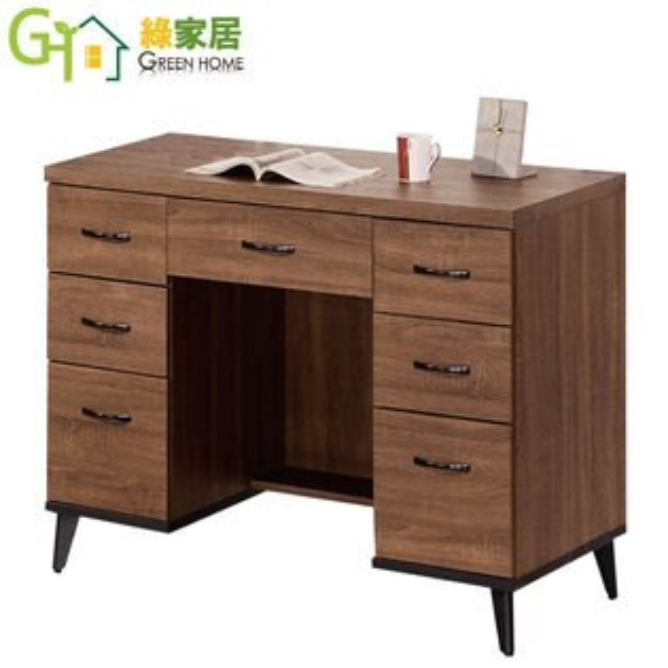 【綠家居】派麥德時尚4尺七抽書桌電腦桌
