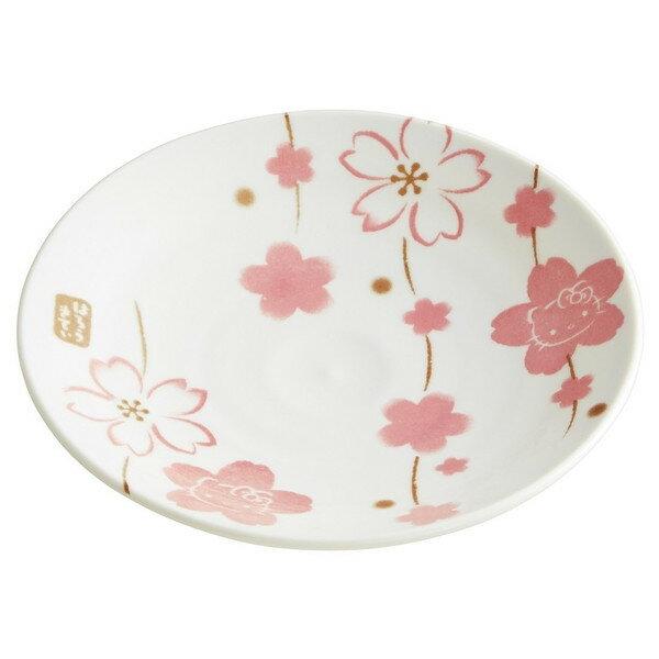 【真愛日本】16050500030日本製彩繪盤M-KT櫻花    三麗鷗 Hello Kitty 凱蒂貓   櫻花系列  杯盤組   日本製