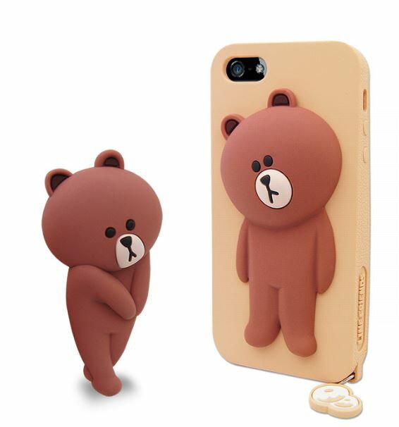 LINE原廠- APPLE iPhone 5/5S/SE 專用BROWN 熊大 矽膠保護殼-棕色