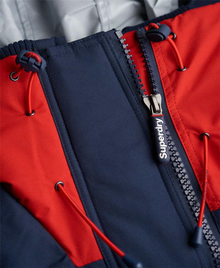 [男款]英國代購 極度乾燥 Superdry Snow Rider 立領 刷毛 防寒防風水滑雪衣系列 風衣雪地騎士 深藍/紅色 3