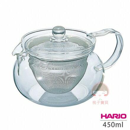【日本Hario】茶茶急須丸形 耐熱玻璃茶壺/花茶壺 450ml~附濾網‧日本製?桃子寶貝?