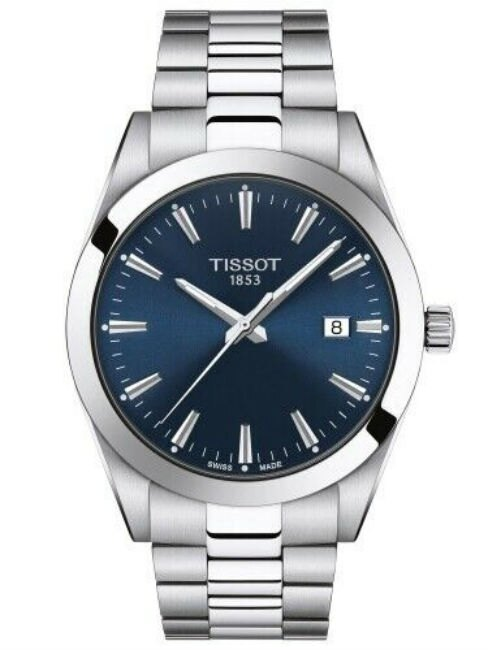TISSOT 天梭表 T1274101104100 Gentleman 簡單時尚紳士機械腕錶 / 藍 40mm