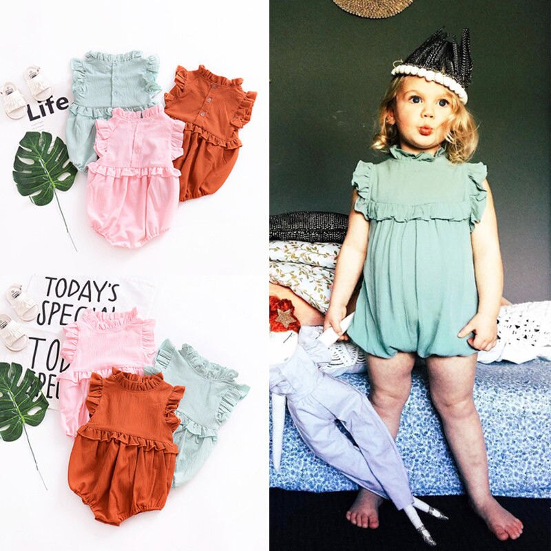 fb06b952ff4 Newborn Baby Girl Ruffle Romper Jumpsuit Bodysuit Clothes Outfit Summer  Stock 5
