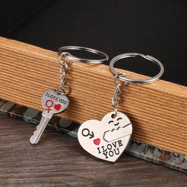 1 Pair Alloy Couple Keychain Valentine's day Gift Heart Shape Key Decor Sets 4