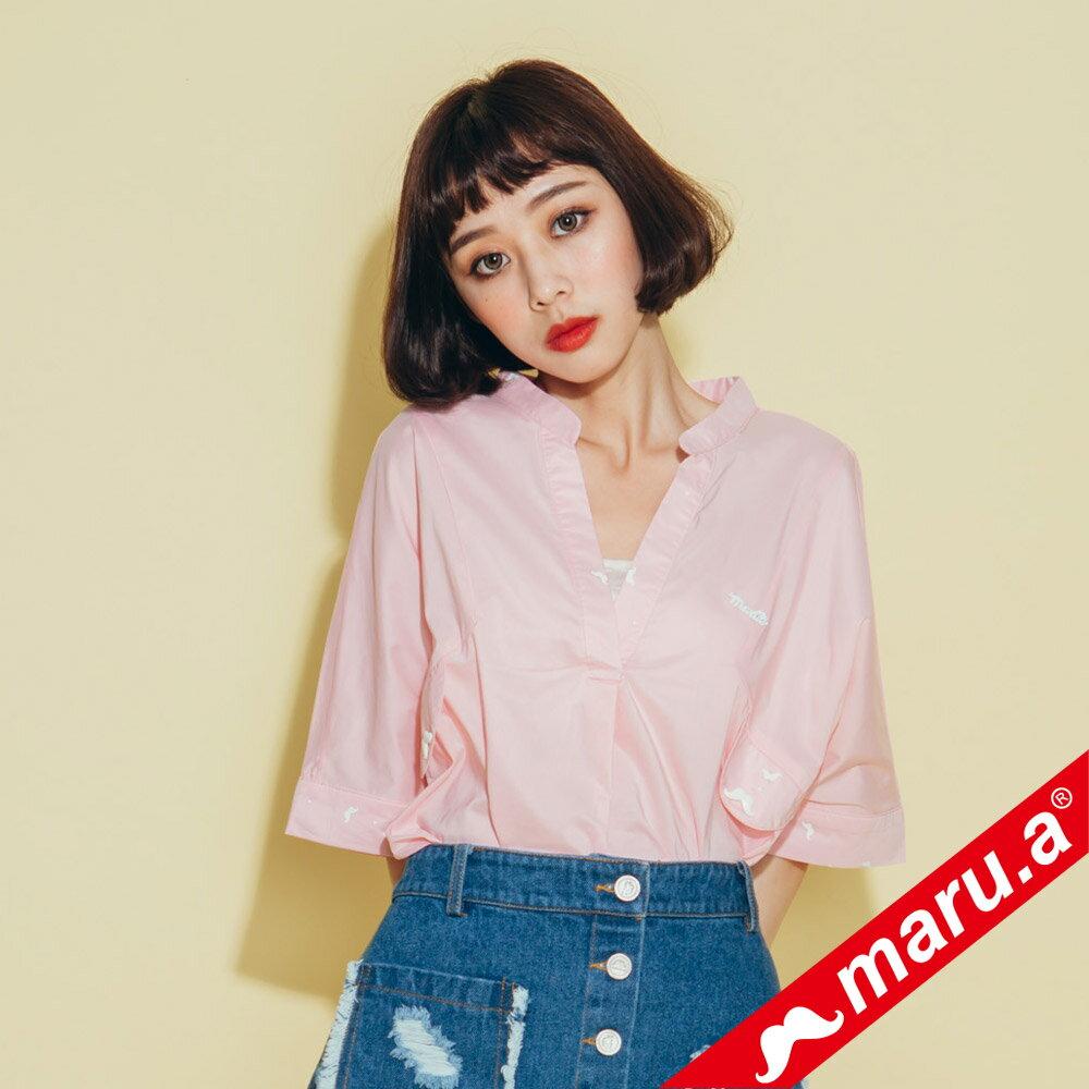 【maru.a】印花拼接V領寬鬆襯衫(2色)8313118 0