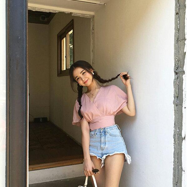 PS Mall 韓版甜美可愛蝴蝶結綁帶襯衫上衣 【T582】 1