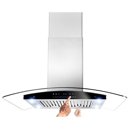 "AKDY 30"" AK-H601C-75 Europe Style Stainless Steel Island Range Hood/W Both Side Accessible Control 0"