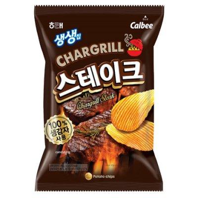 有樂町進口食品 韓國海太Calbee 卡樂比 生生洋芋片 (牛排口味) 60g K40 8801019607516