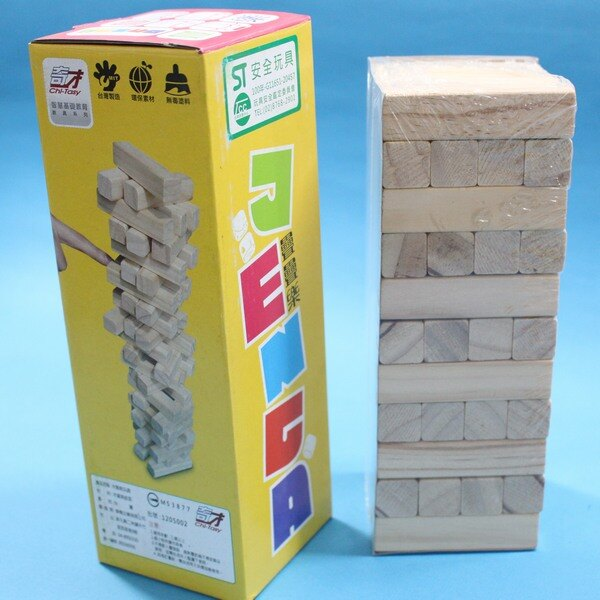 台灣製 奇才 疊疊樂 原木疊疊樂 (原木色 44支入) / 一盒入(促250) 益智疊疊樂 平衡遊戲 ST安全玩具-創H9104 6