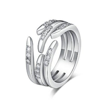 925純銀戒指鑲鑽銀飾~簡潔亮眼手指 母親節生日情人節 女飾品73dx55~ ~~米蘭 ~