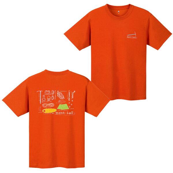 【mont-bell日本】WICKRON短袖排汗衣排汗T恤機能衣山の道具男款橘紅色/1114249