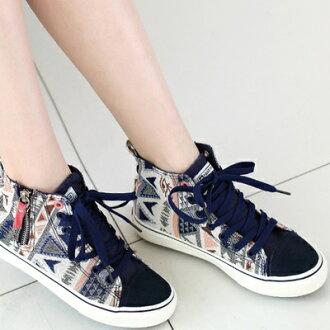 帆布鞋 休閒鞋-韓版時尚休閒搶眼高筒平底女鞋子3色72ac18【獨家進口】【米蘭精品】