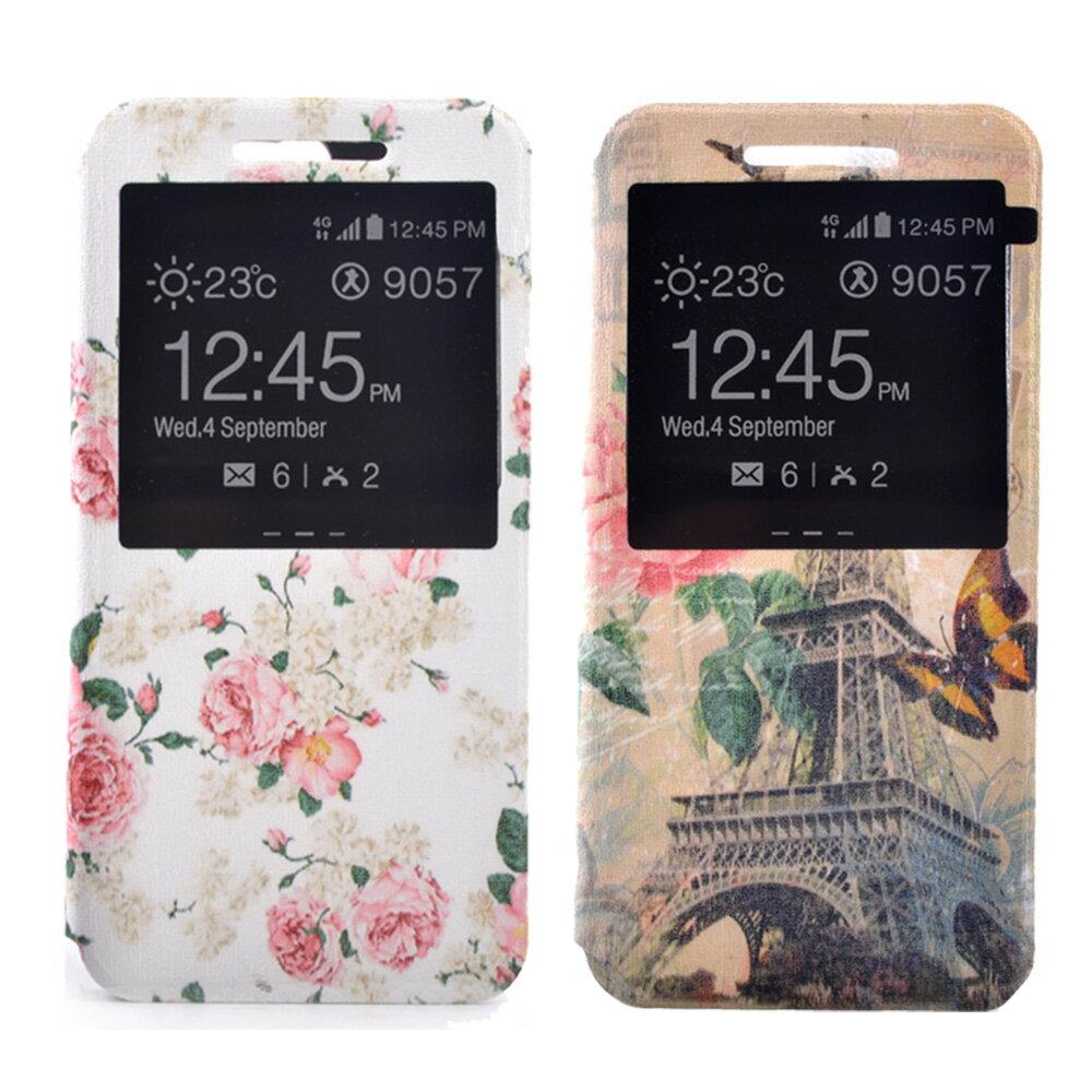 Samsung A7 2016 時尚彩繪手機皮套 側掀支架式皮套 鄉村薔薇/巴黎玫瑰 0