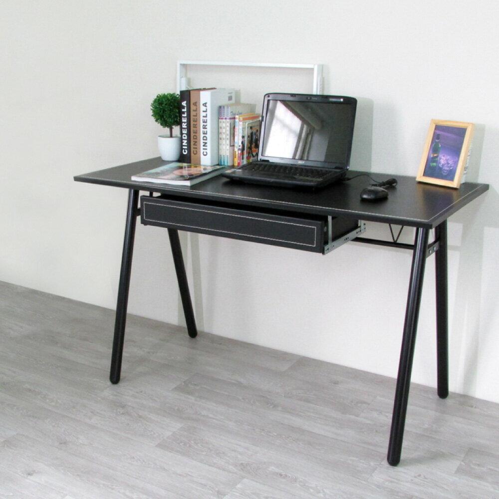電腦桌 辦公桌 書桌【DCA009+DR】環保粗管120公分加抽屜-仿馬鞍A型大桌面工作桌【2色可選】 Amos 台灣製造 1