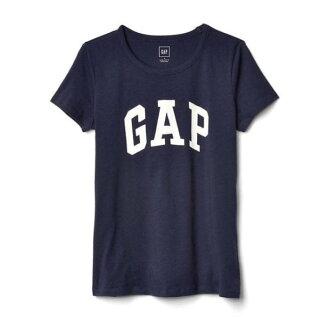 美國百分百【全新真品】GAP T恤 T-SHIRT 短袖 上衣 logo 圓領 純棉 藏藍 S M號 女 H920