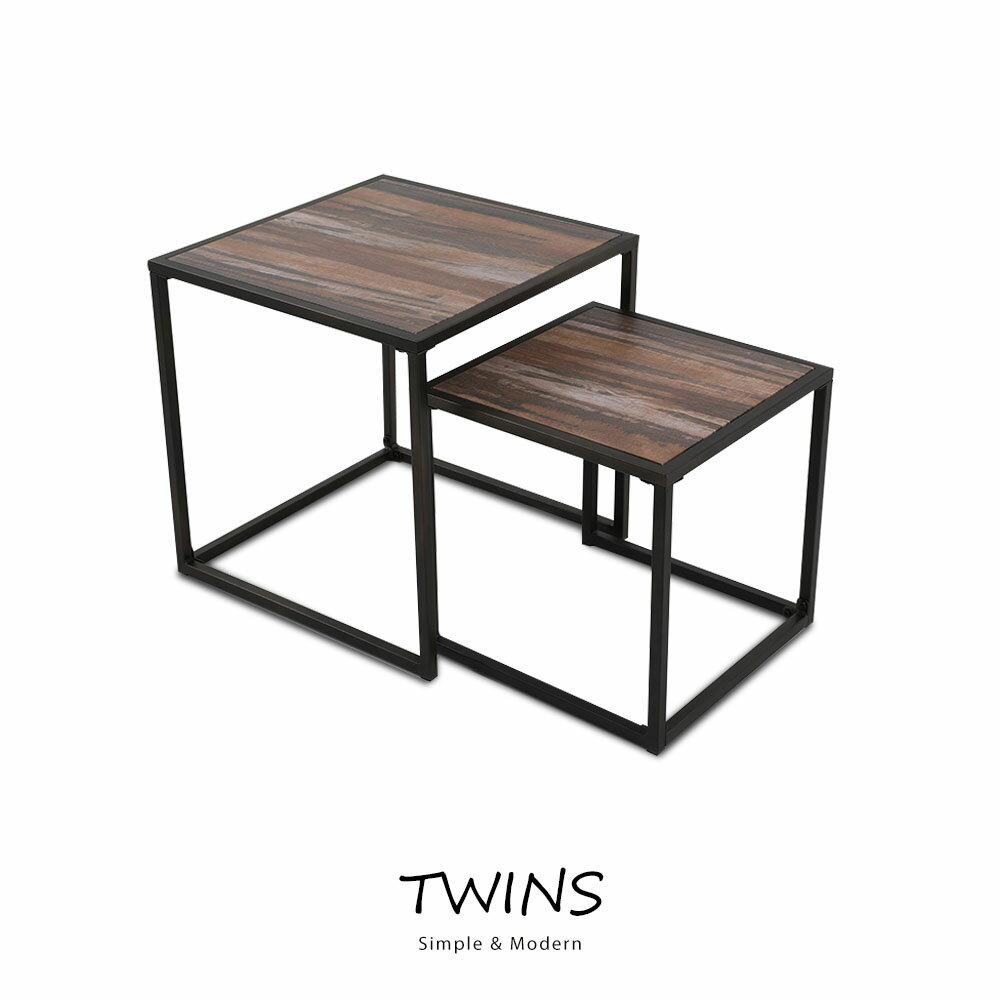 Twins時尚大小方桌2件組(DIY自行組裝) - 限時優惠好康折扣