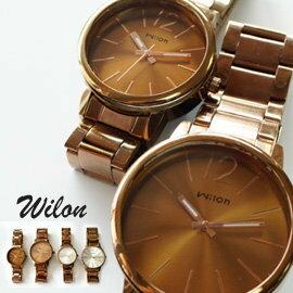 Wilon威龍 937激似CK款 玻璃夾心咖色鐵帶中性對錶 男生聖誕交換禮物