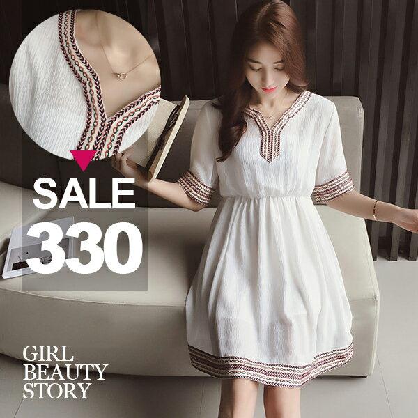 SISI~D6212~ 寬鬆V領民族風刺繡滾邊高腰修身顯瘦連身裙洋裝