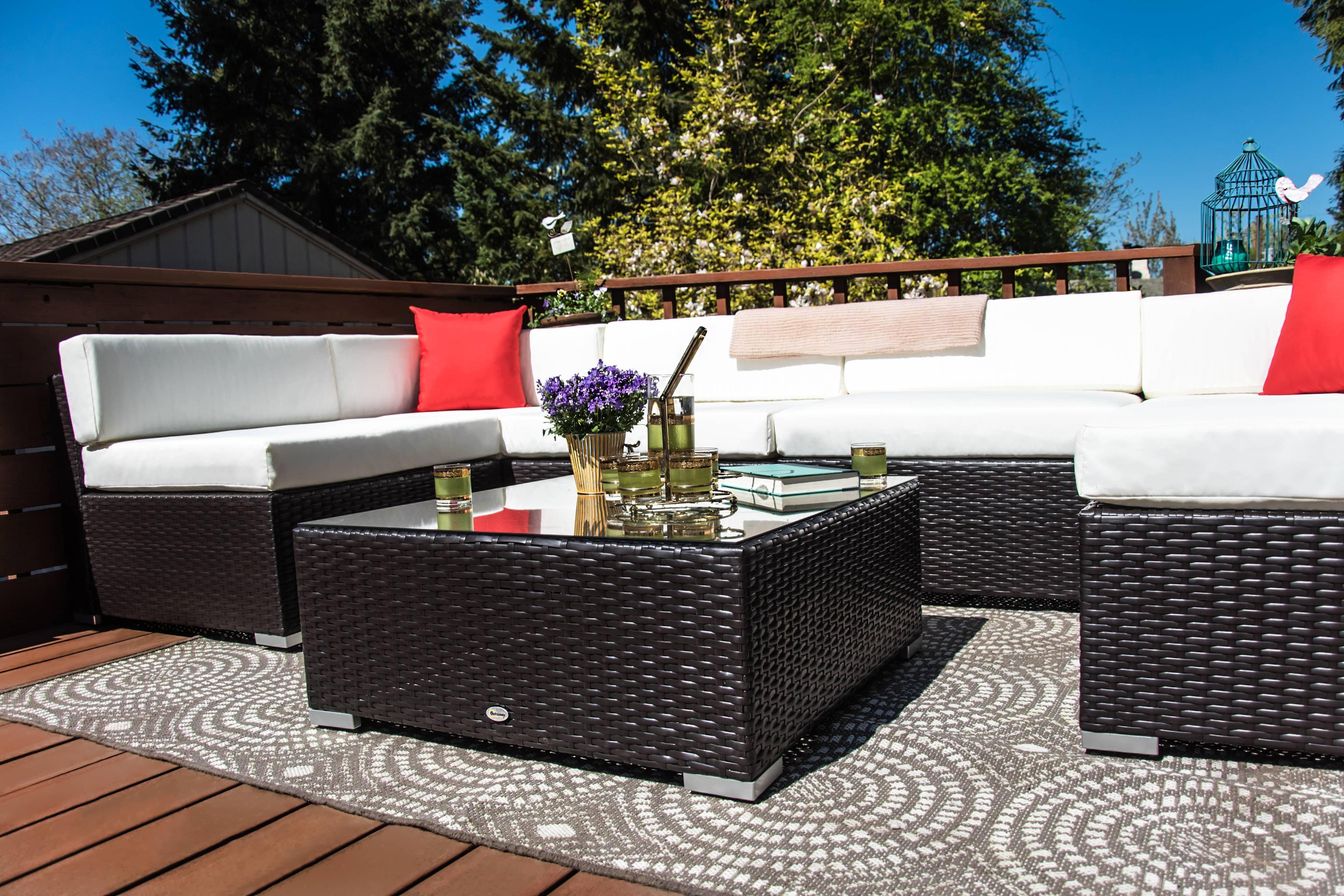 Outsunny 7 Piece Outdoor Patio Rattan Wicker Sofa Sectional Set - Cream 2