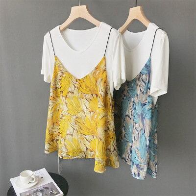 韓系女裝印花雪紡吊帶衫V領外穿背心樂天時尚館。預購。[全店免運]