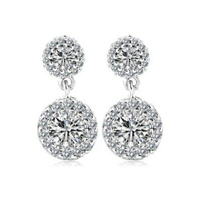純銀耳環鍍白金鑲鑽耳飾~ 精緻耀眼迷人生日情人節 女飾品73cr75~ ~~米蘭 ~