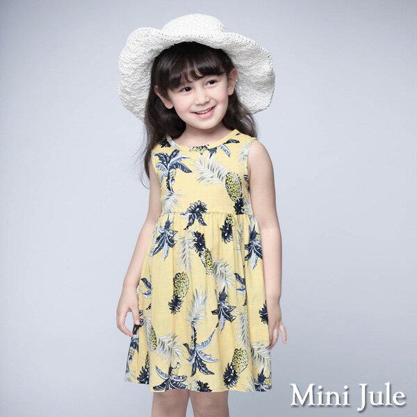 《Mini Jule 童裝》洋裝 鳳梨葉子後釦背心洋裝(黃)