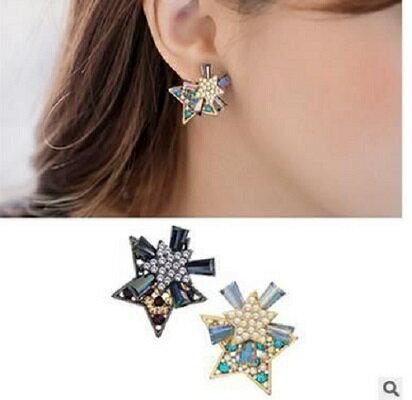 PS Mall 迷尚優品 耳飾品 清新唯美雙面閃鑽星星耳環耳釘 後掛雙層~G1985~