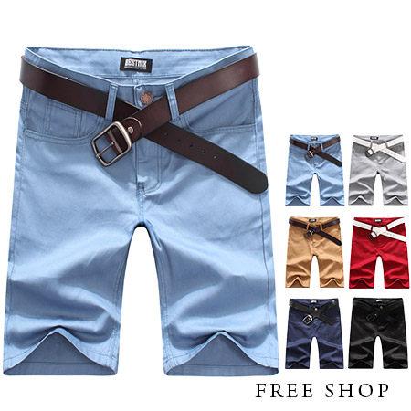 Free Shop~QBMQ3719~日韓系簡約 鈕扣 素色休閒短褲工作短褲五分褲.六色