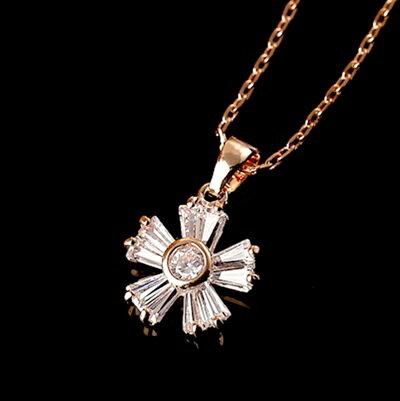 玫瑰金項鍊 水晶純銀吊墜~甜美氣質花朵鑲鑽七夕情人節 女飾品73dw16~ ~~米蘭 ~